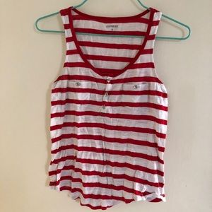 express striped button up scoop neck tank top